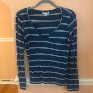 Blue and gray striped long or 3/4 sleeve